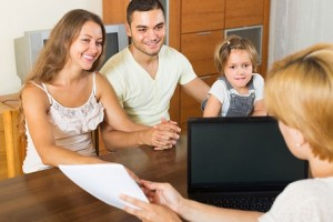 family getting cheap insurance coverage.